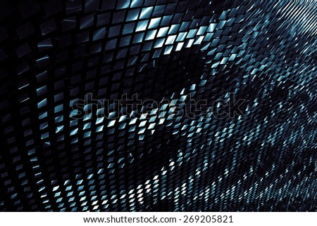 Fantastic unusual abstract background with complex geometric pattern in deep azur tones - stock photo