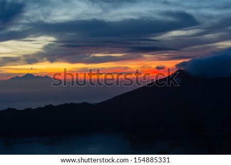 Fantastic view from the Mount Batur at sunrise in the morning - stock photo