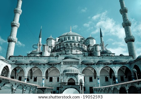Fantastic view of Blue Mosque (Sultan Ahmet) in Istanbul, Turkey