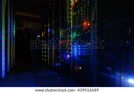 fantastic view of mainframe in the data center row - stock photo