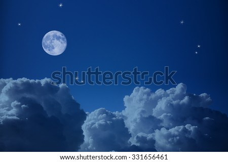 Fantastic view of Night Sky - Clouds, Stars and the Moon, background with copy space  - stock photo