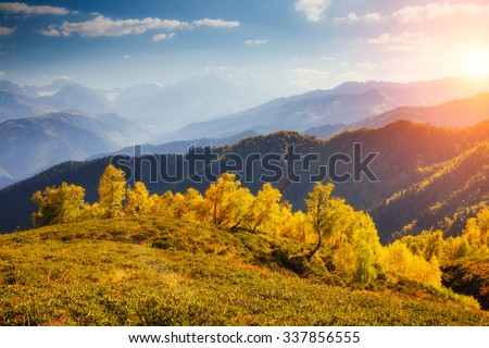 Fantastic view of the alpine valley with blue sky at the foot of Mt. Ushba. Dramatic picturesque scene. Location Mestia, Upper Svaneti, Georgia, Europe. High Caucasus ridge. Beauty world. - stock photo