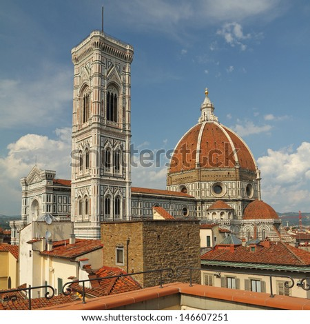 fantastic view of  the Basilica di Santa Maria del Fiore ( Basilica of Saint Mary of the Flower ) from roof  terrace, Florence, Italy, Europe - stock photo