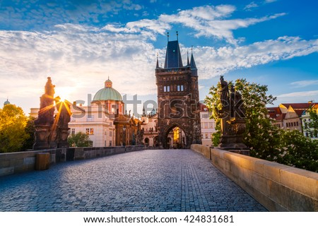 Fantastic view of the Saint Francis of Assisi Church. Location famous place Charles Bridge (Karluv Most) and lesser town bridge tower on river Vltava. Prague, Czech Republic, Europe. Beauty world. - stock photo