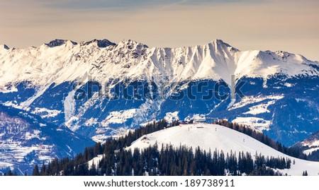 Fantastic winter landscape and blue sky. Austria, Europe. Beauty world. - stock photo