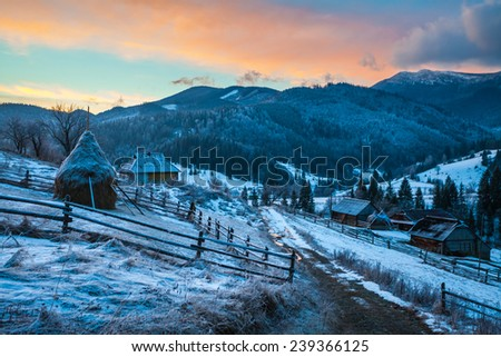 Fantastic winter landscape. Dramatic overcast sky. Carpathian, Ukraine, Europe. Beauty world. - stock photo