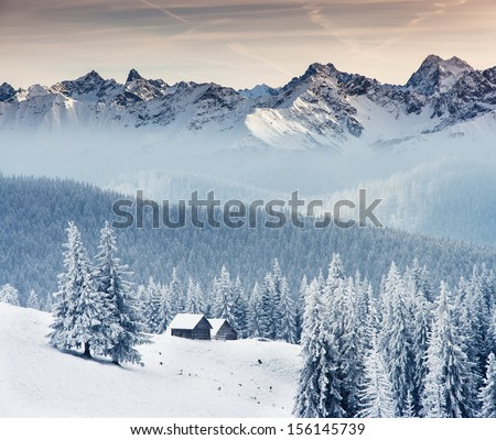 Fantastic winter landscape. Dramatic overcast sky. Creative collage. Beauty world. - stock photo