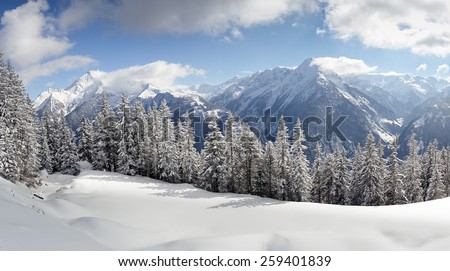 fantastic Winter panorama of the Alps - stock photo