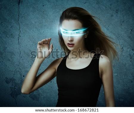 Fantastic Woman Using Virtual Glasses. Perfect IT Virtual Reality Concept. - stock photo
