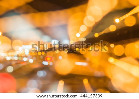 Fantastical Bokeh lights has line at night in my city for abstract background. - stock photo