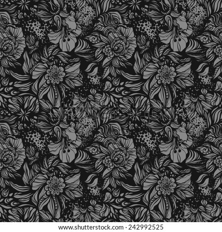 Fantasy abstract floral seamless pattern. - stock photo