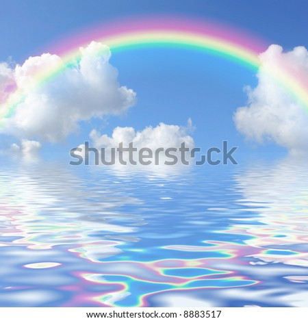 Fantasy abstract of a blue sky and rainbow with cumulus clouds, reflected over water. - stock photo