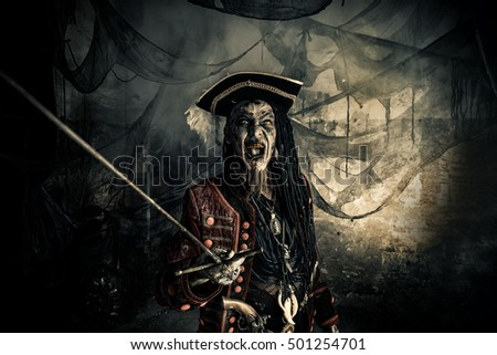Fantasy adventure novel. Terrible evil pirate, risen from the dead. Halloween.