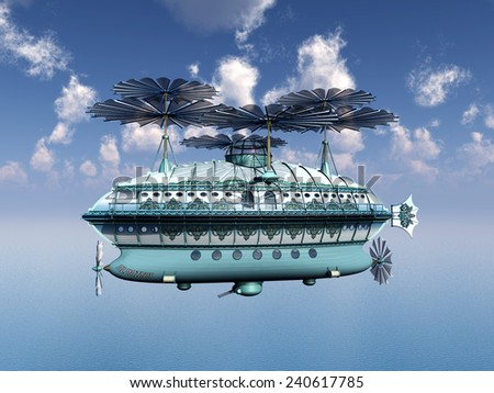 Fantasy Airship Computer generated 3D illustration - stock photo