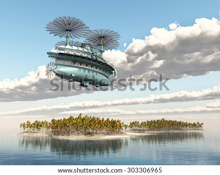 Fantasy airship over an ocean landscape Computer generated 3D illustration - stock photo
