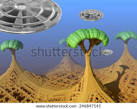 Fantasy alien landscape with trees and three UFOs - stock photo