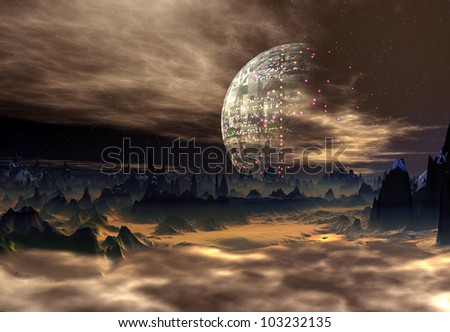 Fantasy Alien Planet with a Space Station in the Background - stock photo