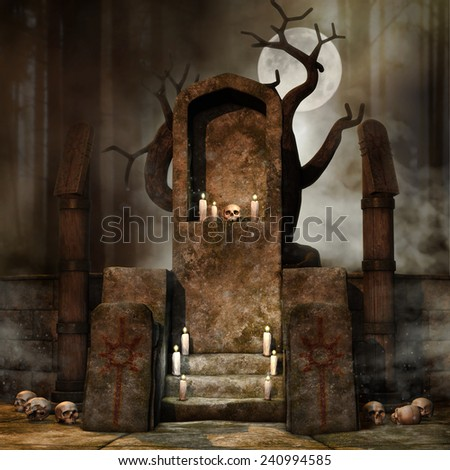 Fantasy altar with candles and skulls in a dark forest - stock photo