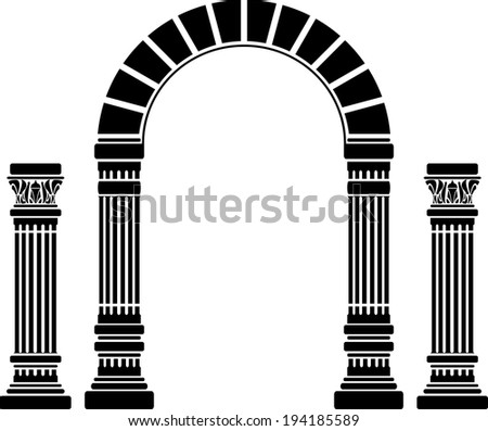 fantasy arch and columns. stencil. first variant - stock photo