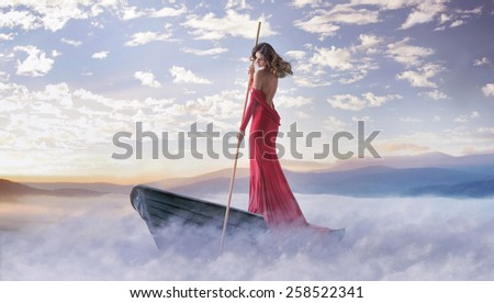 Fantasy art photo of a beautiful lady - stock photo