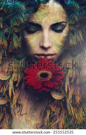 fantasy beautiful woman portrait with flower, composite photo - stock photo