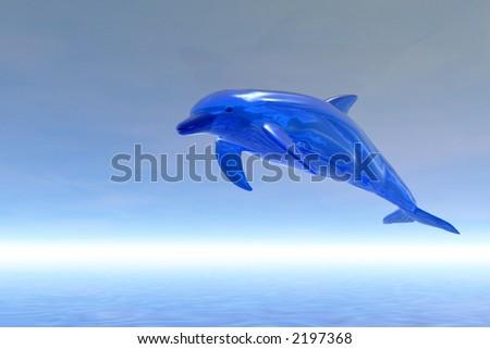 Fantasy Blue dolphin - 3d scene - stock photo