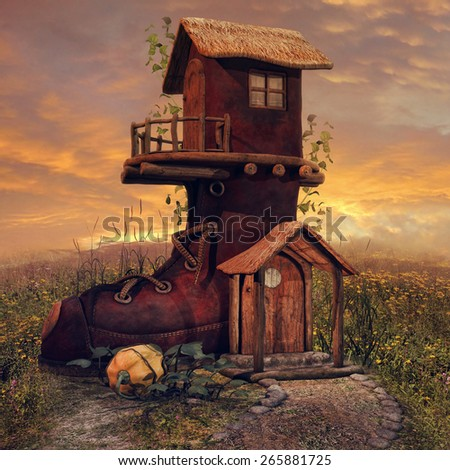 Fantasy boot cottage on a colorful meadow with ivy and pumpkins - stock photo