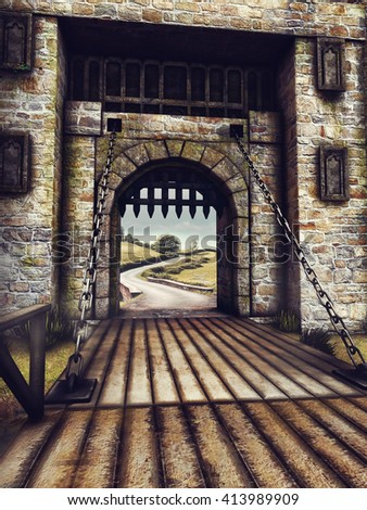 Fantasy bridge and gate in an old castle. 3D illustration. - stock photo