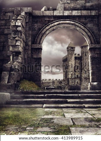 Fantasy castle and ruined stone wall. 3D illustration. - stock photo