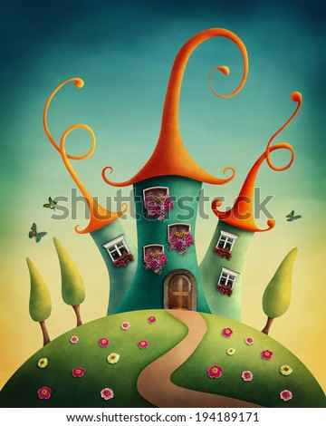 Fantasy castle in the meadow - stock photo