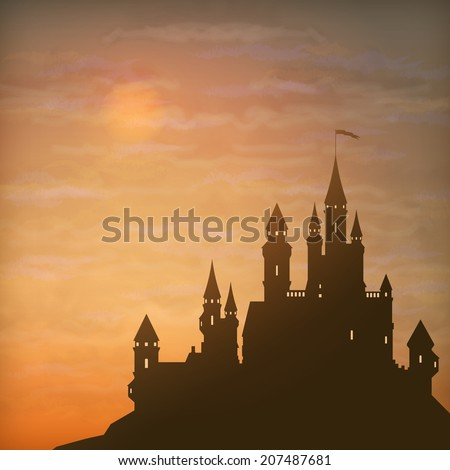 Fantasy castle silhouette on the hill against moonlight sky with soft clouds texture - stock photo