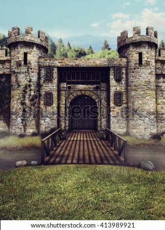 Fantasy castle with a moat and drawbridge. 3D illustration. - stock photo