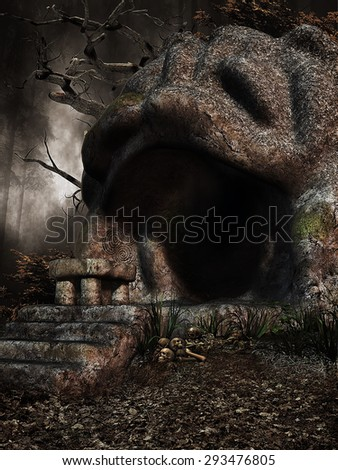 Fantasy cave with stone stairs, table, skulls, and tree branches - stock photo