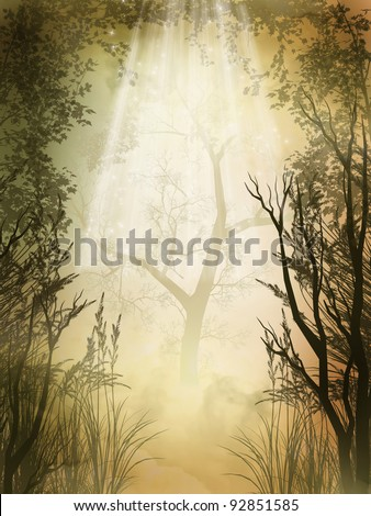 Fantasy charming  golden fairy forest with fog - stock photo