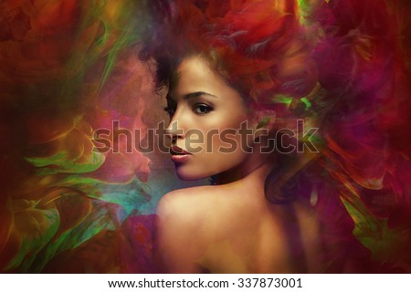fantasy colorful beautiful young woman portrait, composite photo - stock photo
