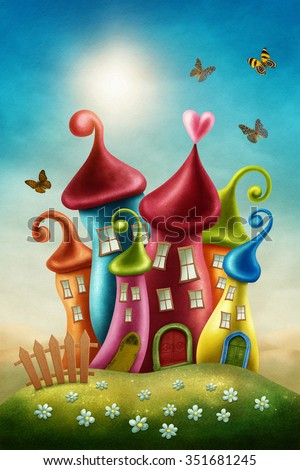 Fantasy colorful houses and butterflies - stock photo