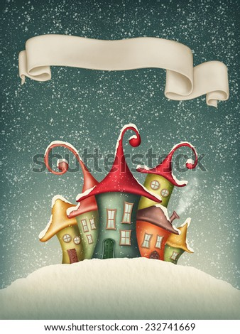 Fantasy colorful houses in winter and banner - stock photo