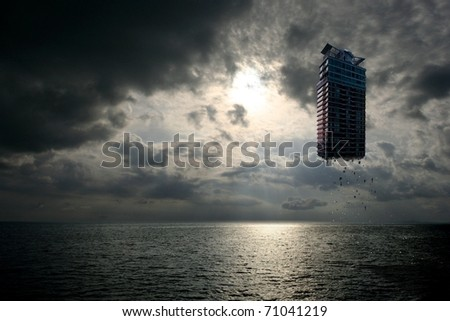 fantasy concept image of a destructed building floating over the vast sea and sky