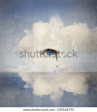 Fantasy concept of a human eye crying in the clouds - stock photo