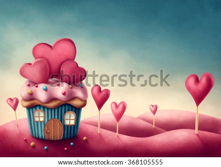 Fantasy cup cake house with hearts - stock photo