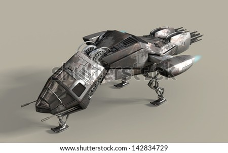 Fantasy 3D model of futuristic battleship pod for sci-fi or gaming backgrounds, with clipping path included in the file - stock photo