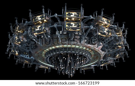 Fantasy 3D model of futuristic space ship for sci-fi backgrounds of interstellar deep space travel. Clipping path included in the .jpg file. - stock photo