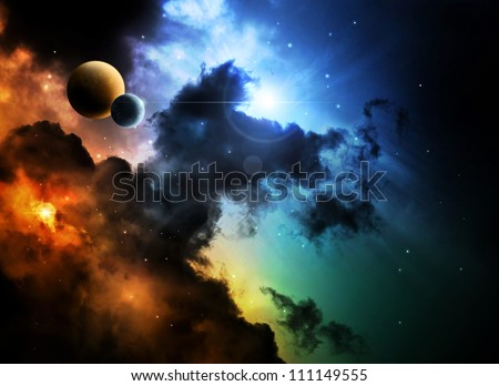 Fantasy deep space nebula with planet - stock photo