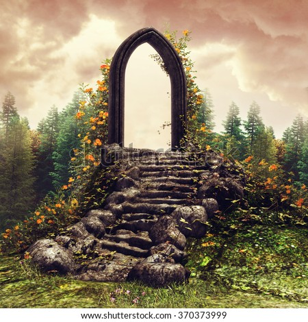 Fantasy door and stairs on a flowering meadow near a forest - stock photo