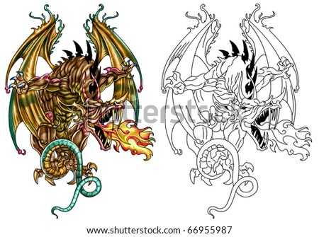 Fantasy Dragon in color and line art - stock photo