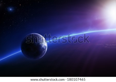 Fantasy Earth and Moon in colourful space with sunrise (Elements of this 3d image furnished by NASA -  texture maps from http://visibleearth.nasa.gov/) - stock photo