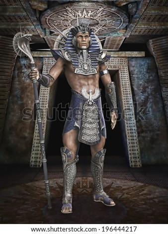 fantasy egyptian pharaoh cobra staff stock illustration