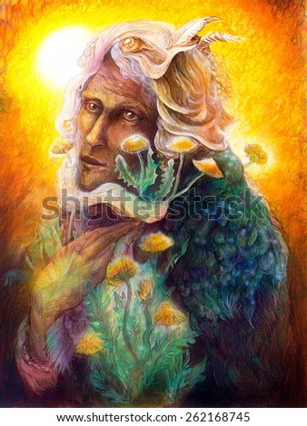 fantasy elven fairy man portrait with dandelion, beautiful colorful detailed fairytale painting of an elven creature and energy lights - stock photo
