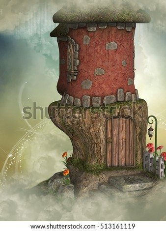 fantasy fairy house 3D rendering in the sky