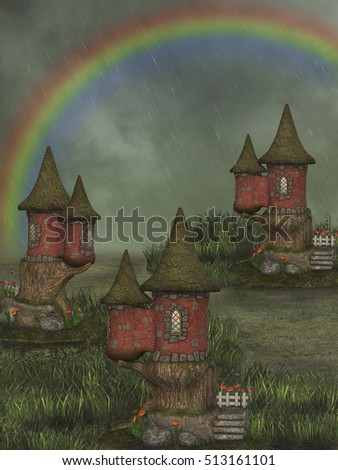 fantasy fairy house 3D rendering with rainbow in the garden